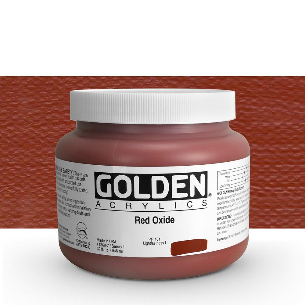 Golden : Heavy Body Acrylic Paint : 946ml : Red Oxide