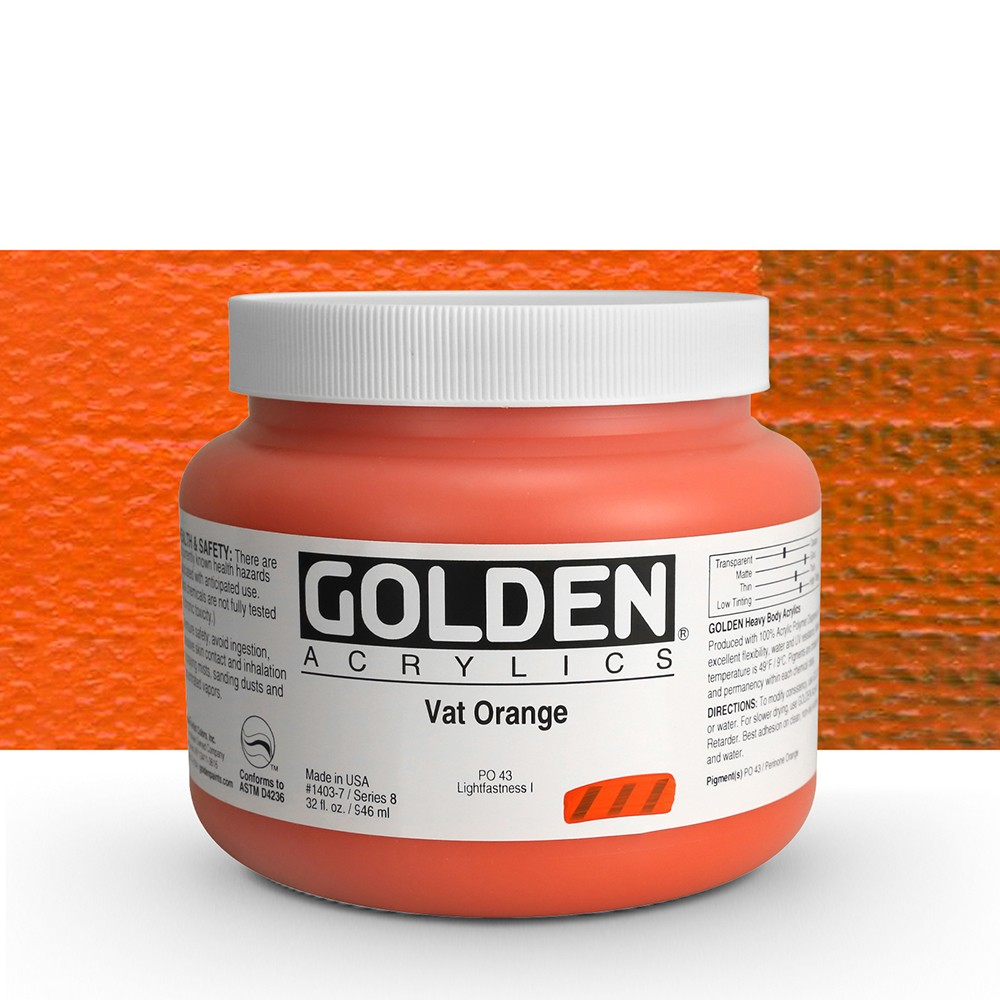 Golden : Heavy Body Acrylic Paint : 946ml : Vat Orange