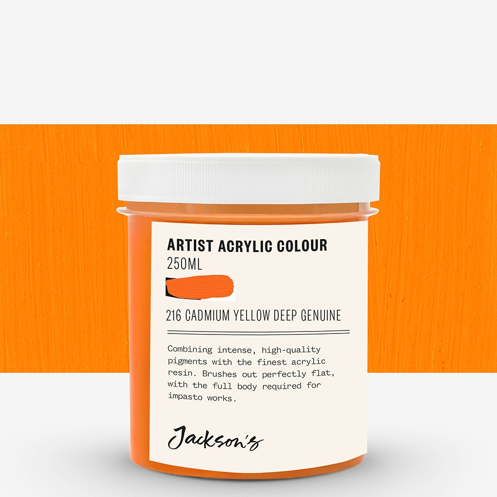 Jackson's : Artist Acrylic Paint : 250ml : Cadmium Yellow Deep Genuine