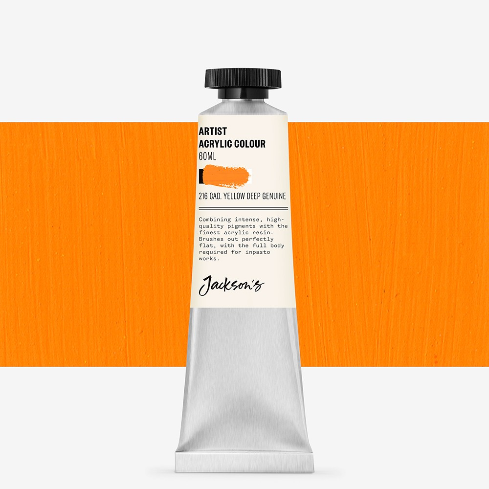 Jackson's : Artist Acrylic Paint : 60ml : Cadmium Yellow Deep Genuine