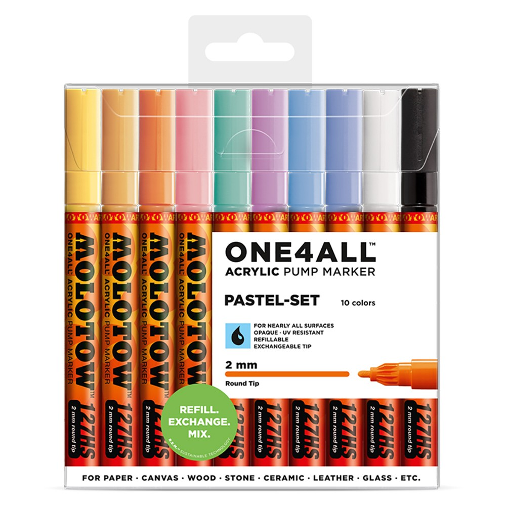 Molotow : One4All : 127HS : Acrylic Marker : Pastel Set : 10 Colours