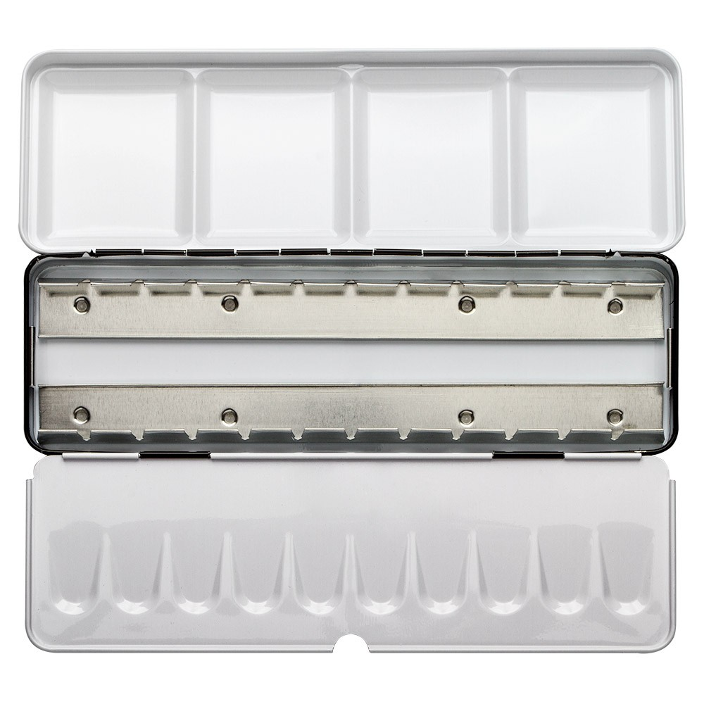 JAS : Empty Metal Watercolour Box : Holds 24 Half Pans or 12 Full Pans : With Fold-Out Palette