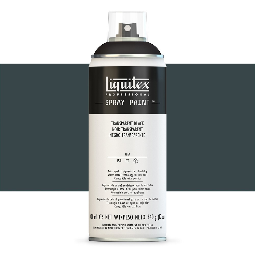 Liquitex : Professional : Spray Paint : 400ml : Transparent Black : By Road Parcel Only