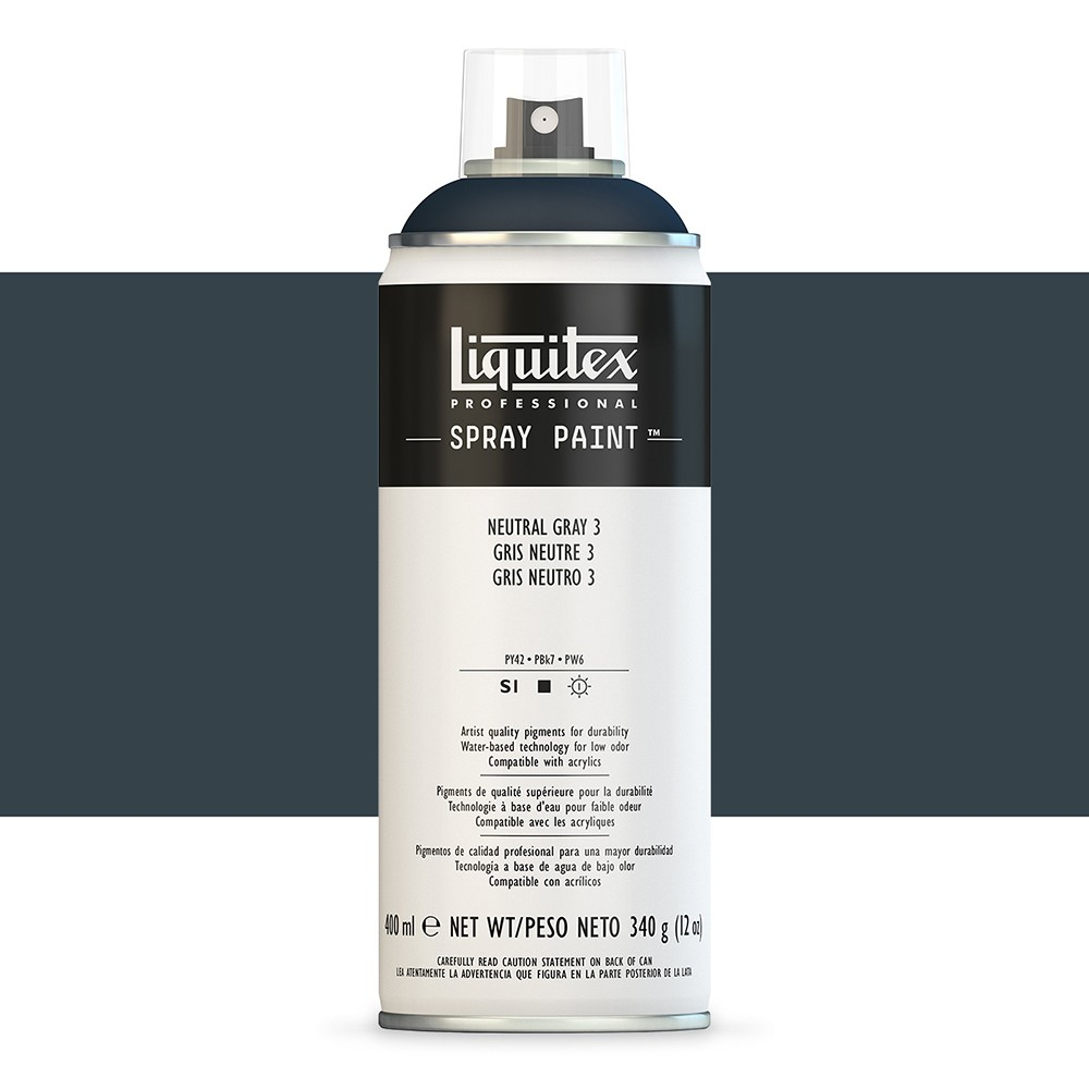 Liquitex : Professional : Spray Paint : 400ml : Neutral Grey 3 : By Road Parcel Only