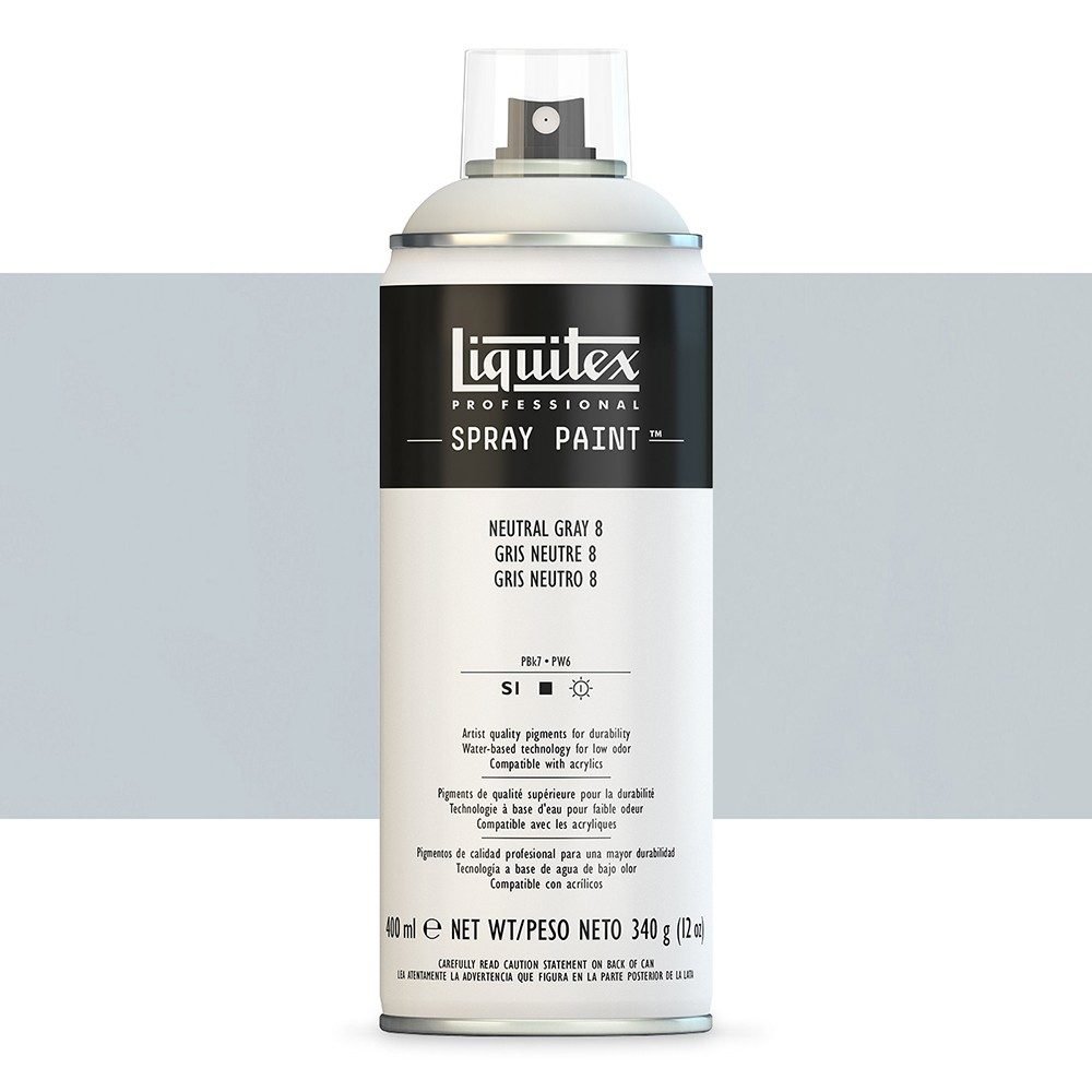Liquitex : Professional : Spray Paint : 400ml : Neutral Grey 8 : By Road Parcel Only