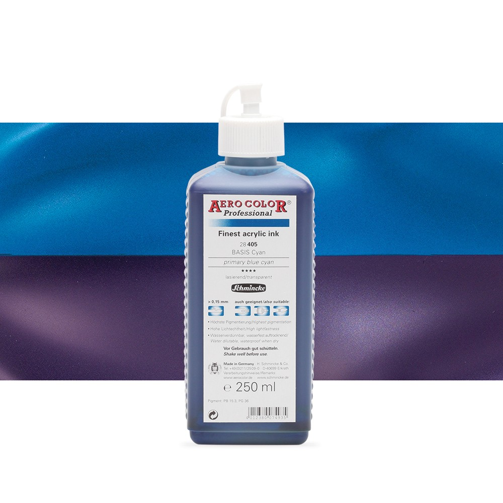 Schmincke : Aero Color Finest Acrylic Ink : 250ml : Primary Blue Cyan