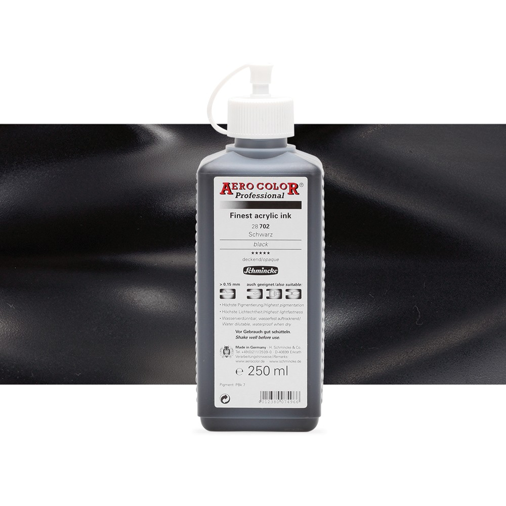 Schmincke : Aero Color Finest Acrylic Ink : 250ml : Black