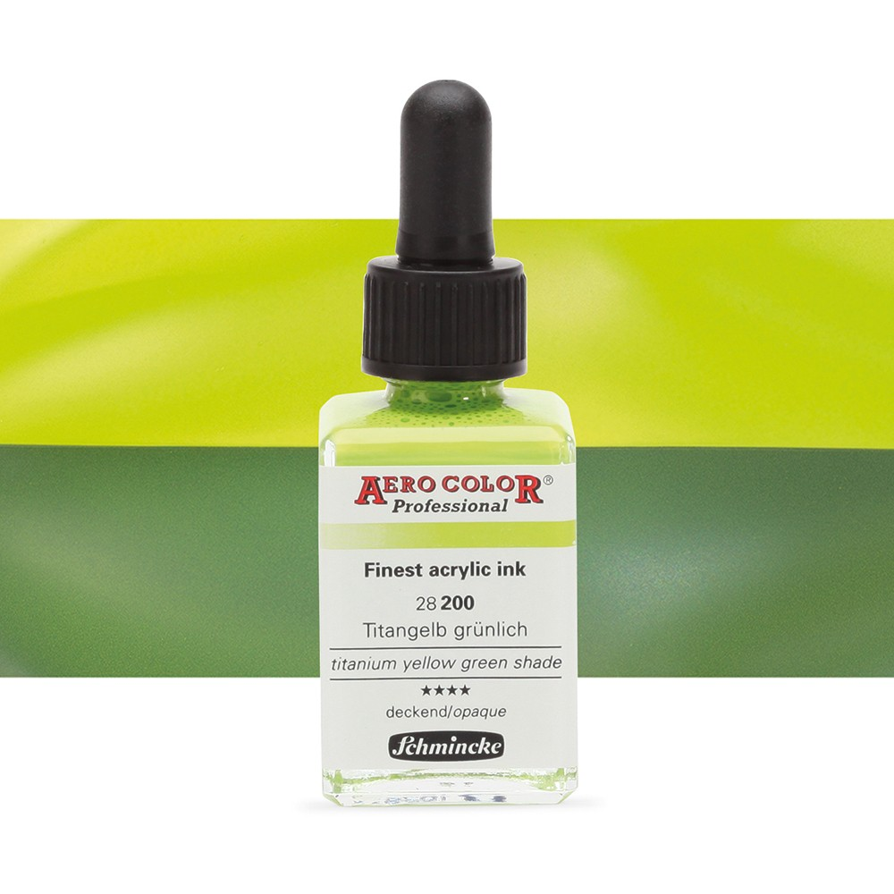 Schmincke : Aero Color Finest Acrylic Ink : 28ml : Titanium Yellow Green Shade