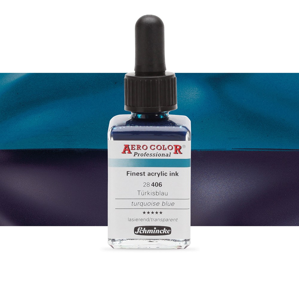 Schmincke : Aero Color Finest Acrylic Ink : 28ml : Turquoise Blue