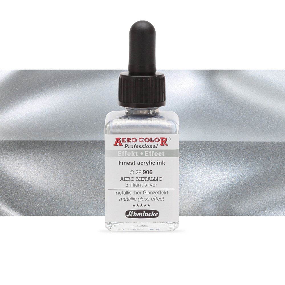Schmincke : Aero Color Finest Acrylic Ink : 28ml : Aero Metallic Brill.Silver