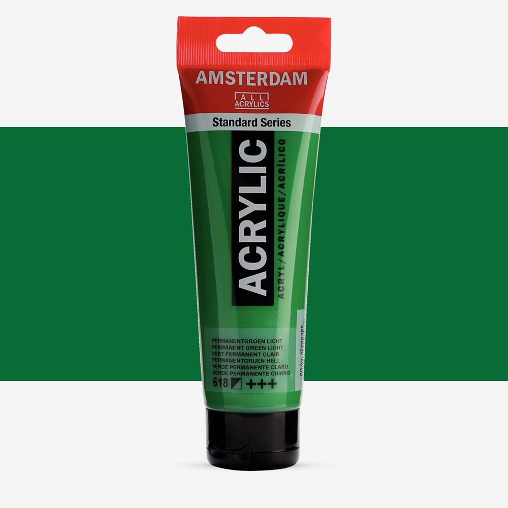 Talens : Amsterdam Standard : Acrylic Paint : 120ml : Permanent Green Light