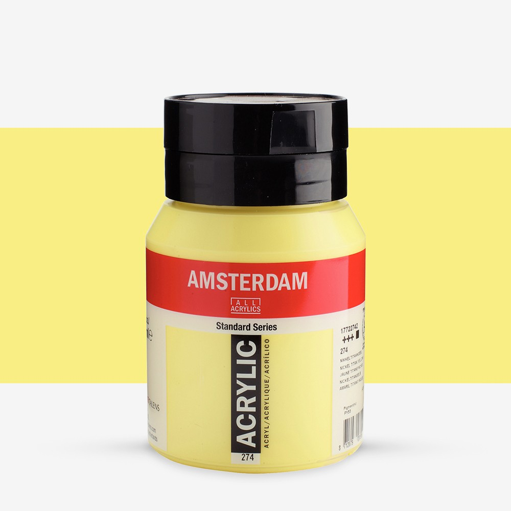 Talens : Amsterdam Standard : Acrylic Paint : 500ml : Nickel Titanium Yellow