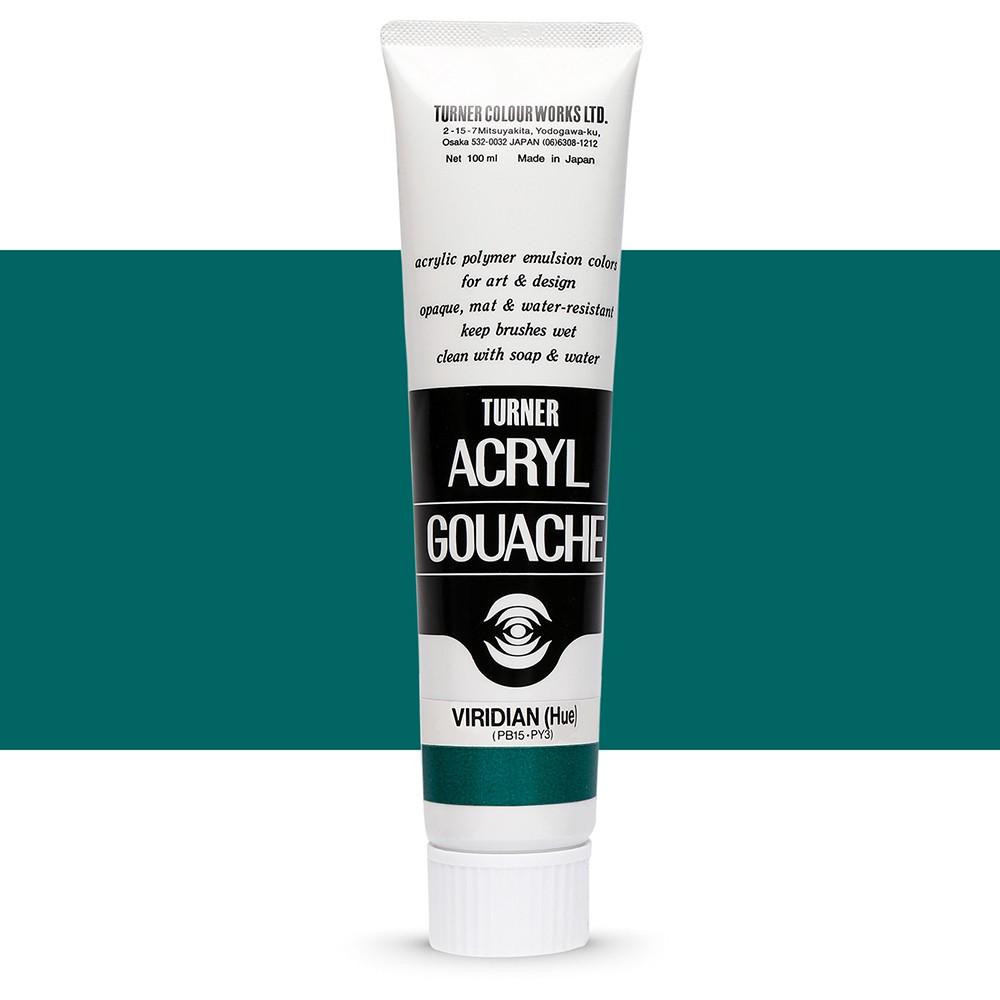Turner : Acrylic Gouache Paint : 100ml : Viridian (Hue) 47