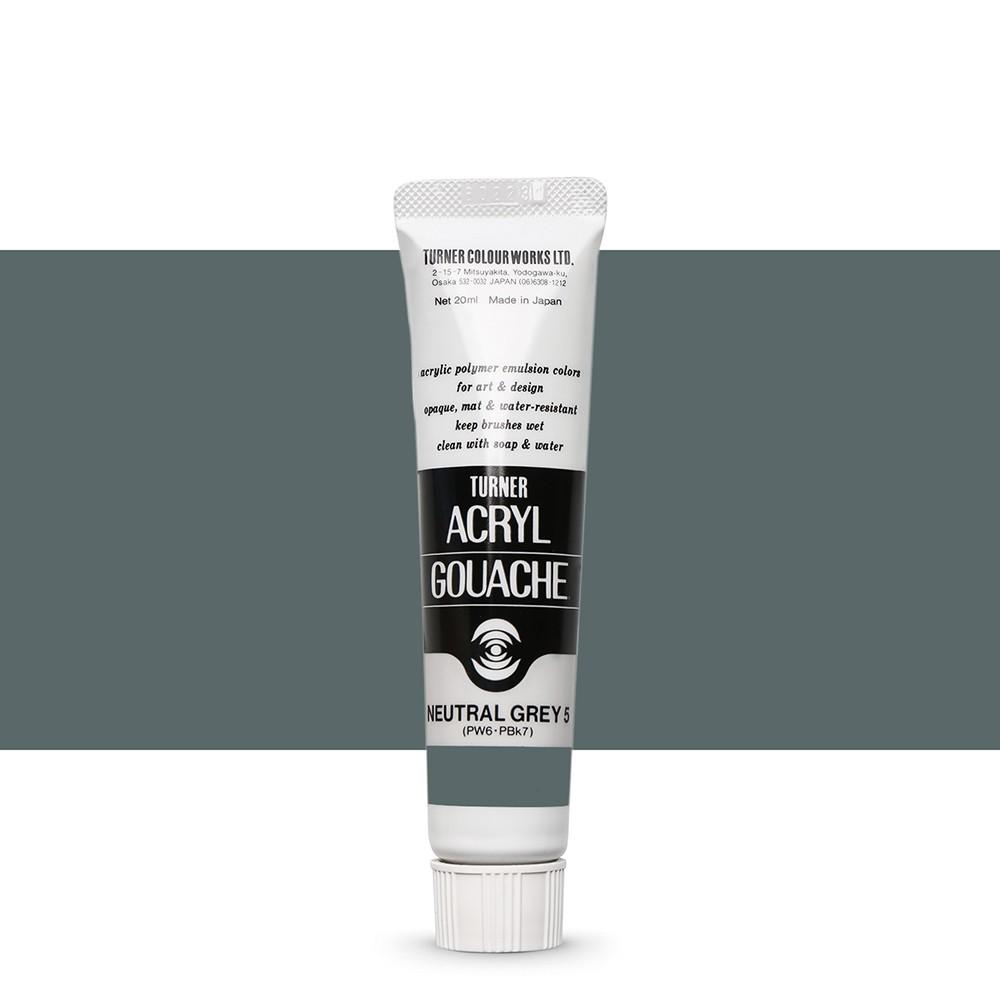 Turner : Acrylic Gouache Paint : 20ml : Neutral Grey 5. 4