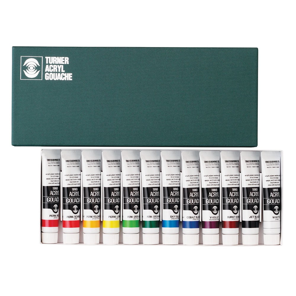 Turner : Acrylic Gouache Paint : 20ml : 12 Colours Set