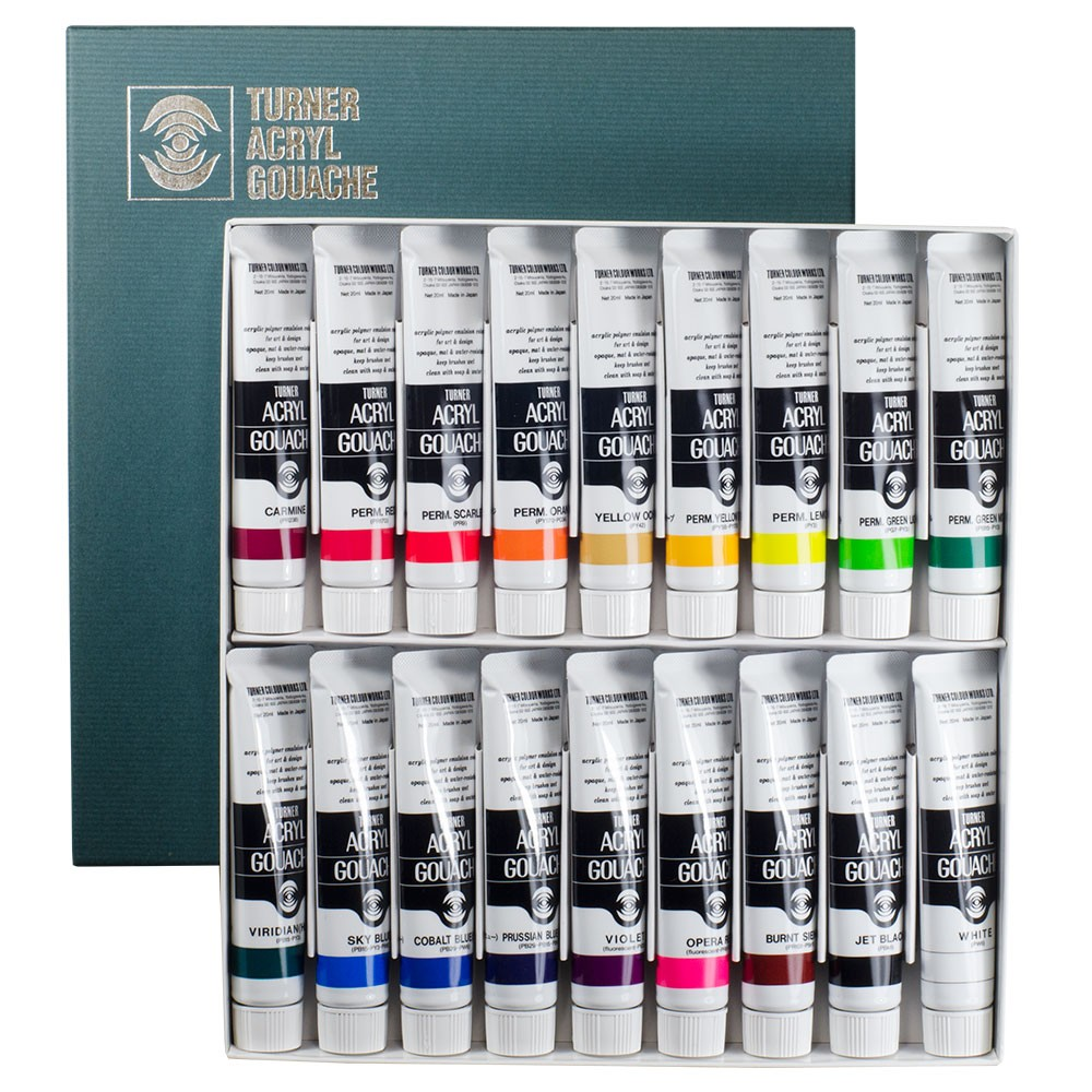 Turner : Acrylic Gouache Paint : 20ml : 18 Colours Set