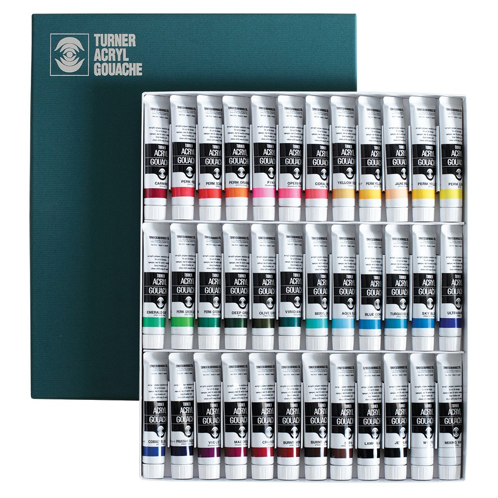 Turner : Acrylic Gouache Paint : 20ml : 36 Colour Set