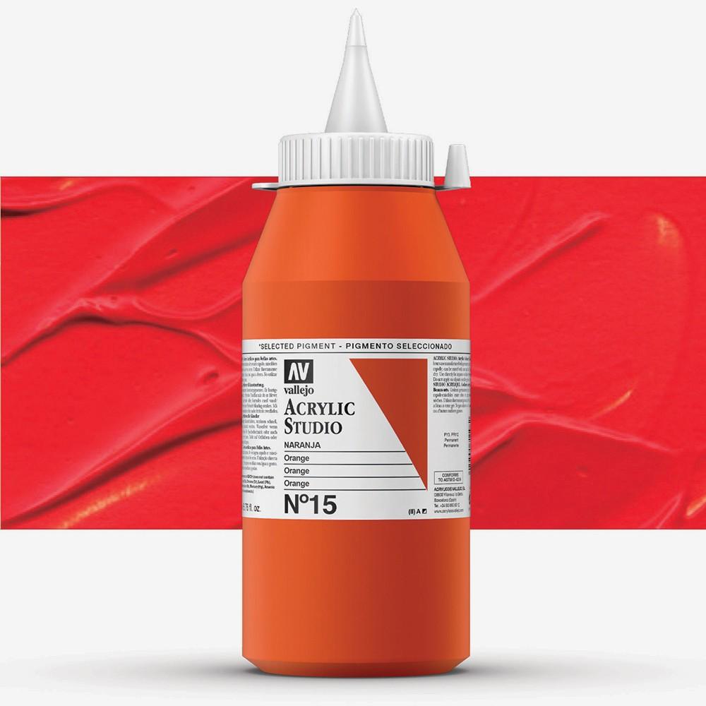 Vallejo : Studio Acrylic Paint : 1000ml : Orange (Camium Orange Hue)