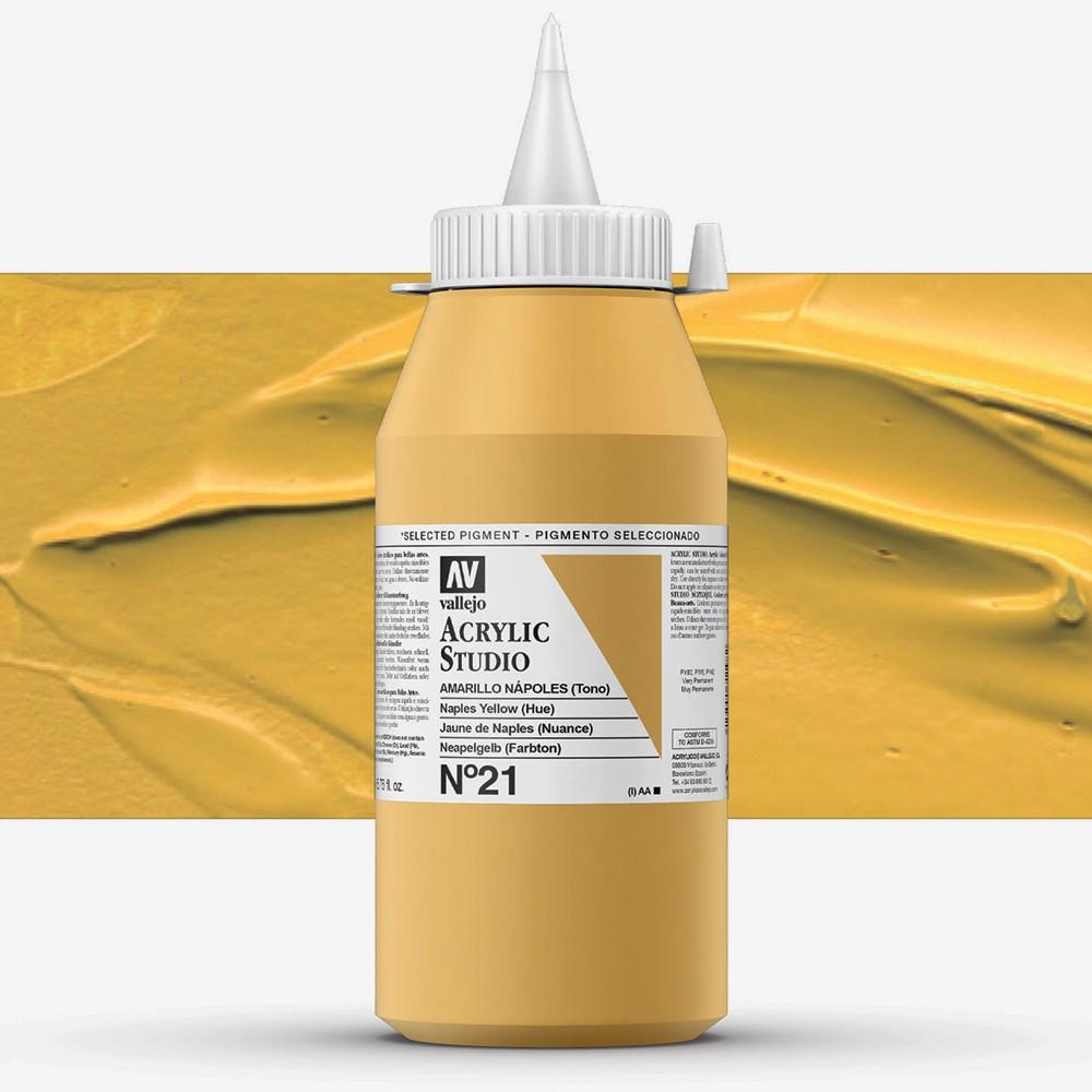 Vallejo : Studio Acrylic Paint : 1000ml : Naples Yellow (Hue)