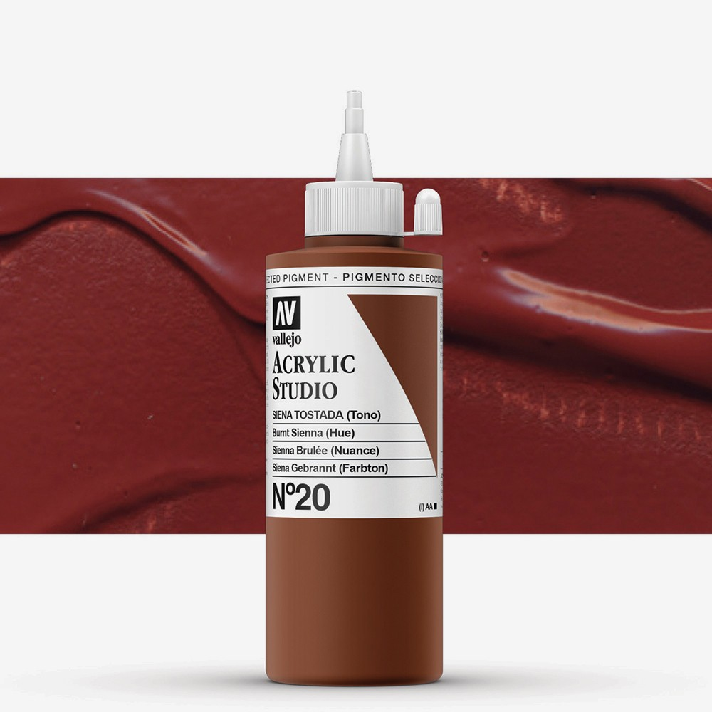 Vallejo : Studio Acrylic Paint : 200ml : Burnt Sienna (Hue)