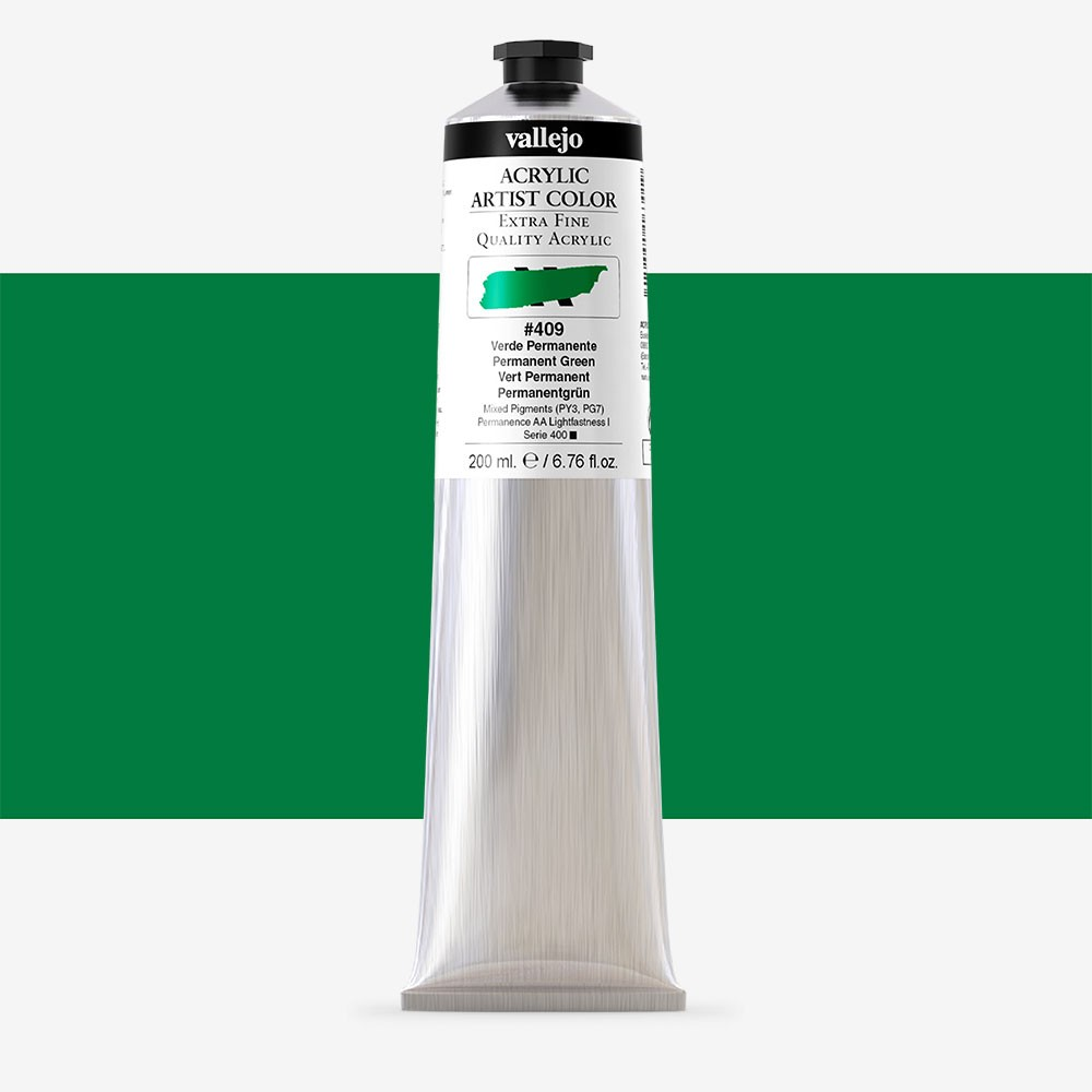 Vallejo : Artist Acrylic Paint : 200ml Tube : Permanent Green