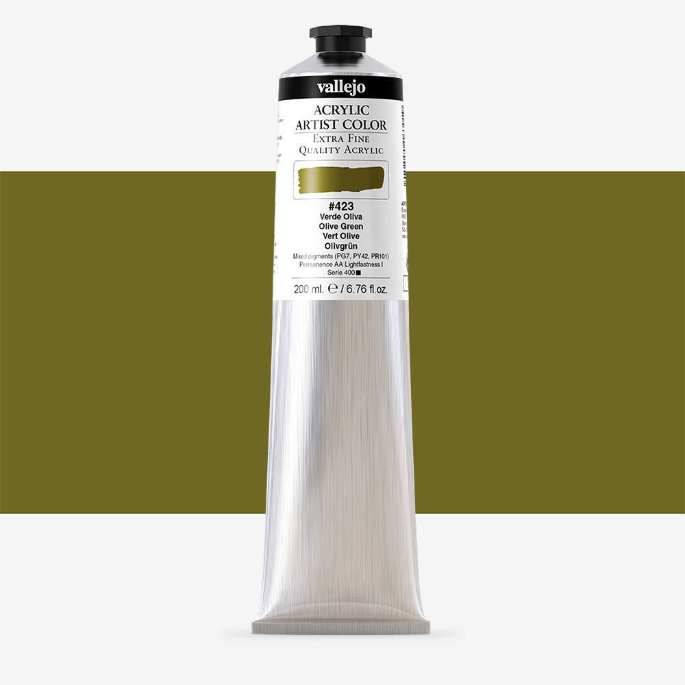 Vallejo : Artist Acrylic Paint : 200ml Tube : Olive Green