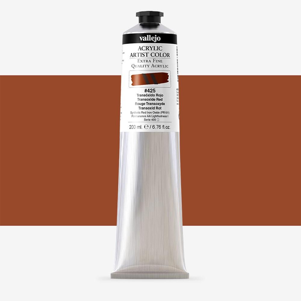 Vallejo : Artist Acrylic Paint : 200ml : Transoxide Red