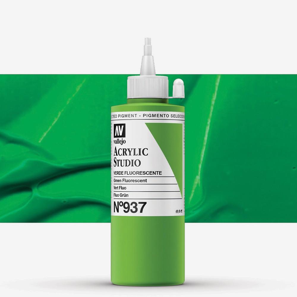 Vallejo : Studio Acrylic Paint : 200ml : Green Fluorescent