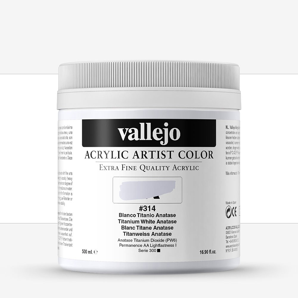 Vallejo : Artist Acrylic Paint : 500ml Pot : Titanium White Anastase