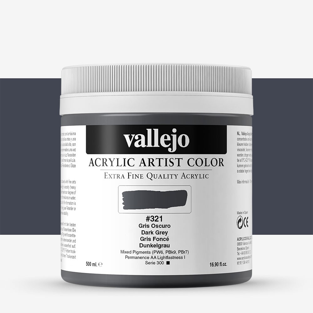 Vallejo : Artist Acrylic Paint : 500ml : Dark Grey