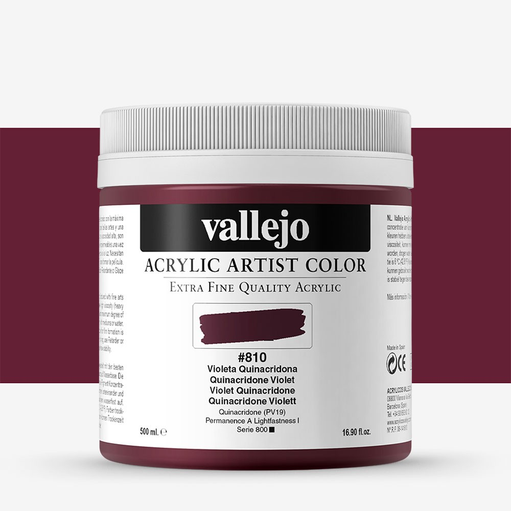 Vallejo : Artist Acrylic Paint : 500ml Pot : Quinacridone Violet