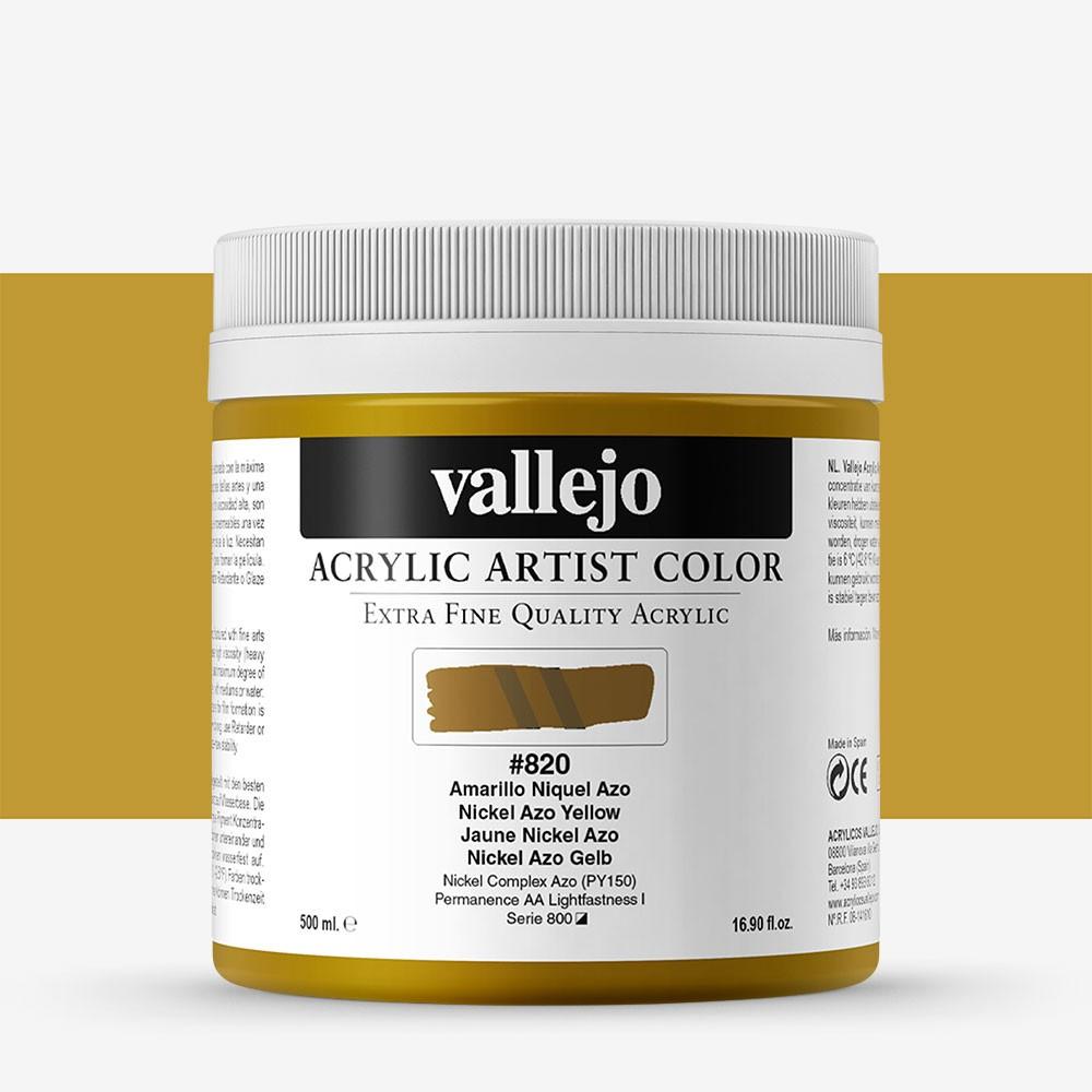 Vallejo : Artist Acrylic Paint : 500ml Pot : Nickel Azo Yellow