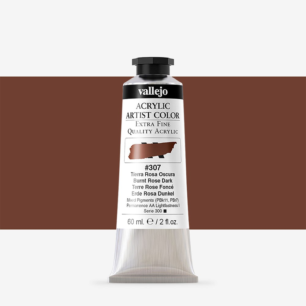 Vallejo : Artist Acrylic Paint : 60ml : Burnt Rose Dark