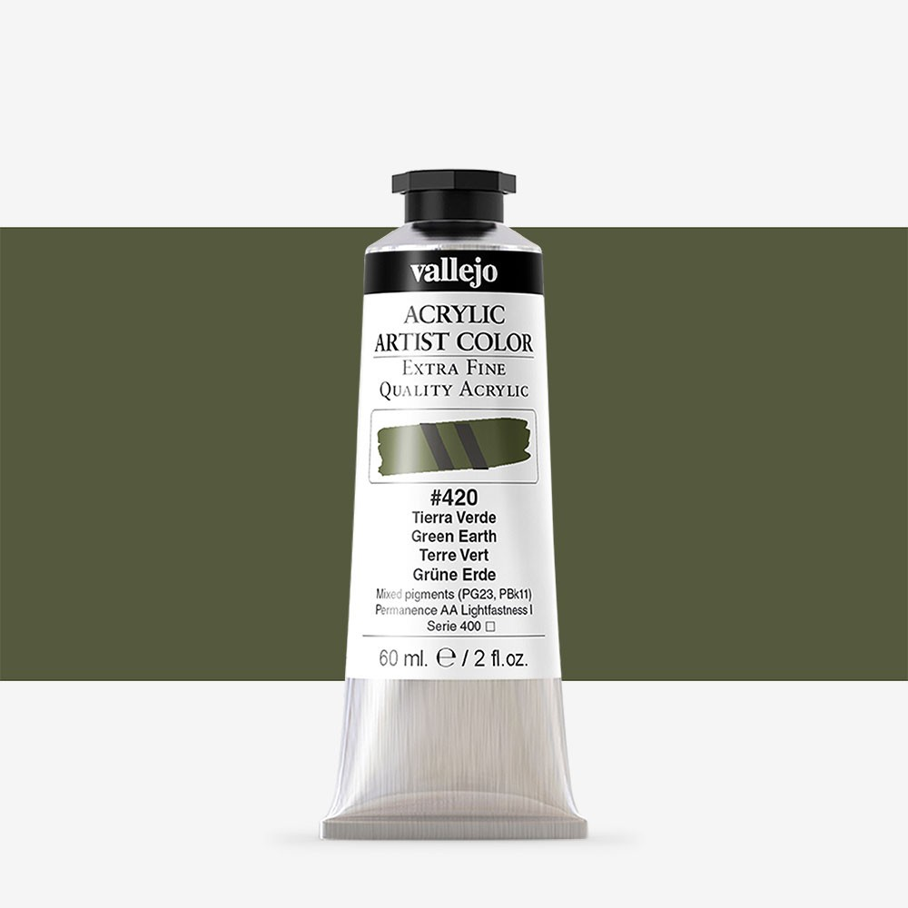 Vallejo : Artist Acrylic Paint : 60ml : Green Earth