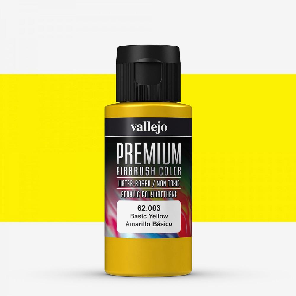 Vallejo : Premium Airbrush Paint : 60ml : Basic Yellow