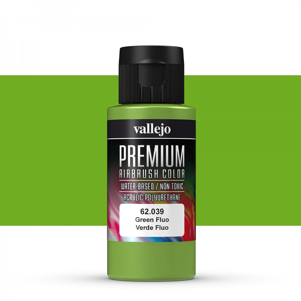 Vallejo : Premium Airbrush Paint : 60ml : Green Fluorescent