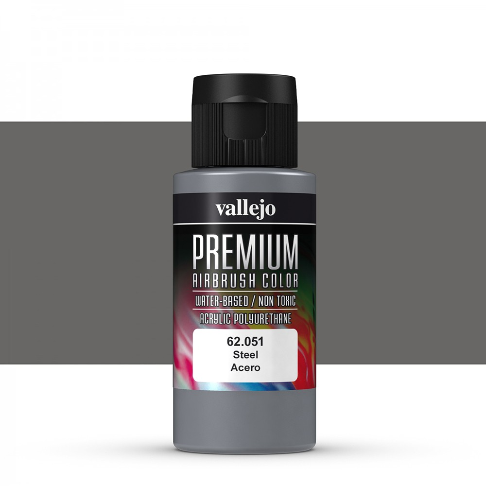 Vallejo : Premium Airbrush Paint : 60ml : Metallic Steel