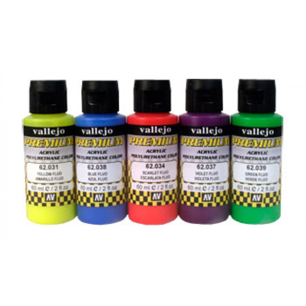Vallejo : Premium Airbrush Paint : Set of 5 : Fluorescent Colours