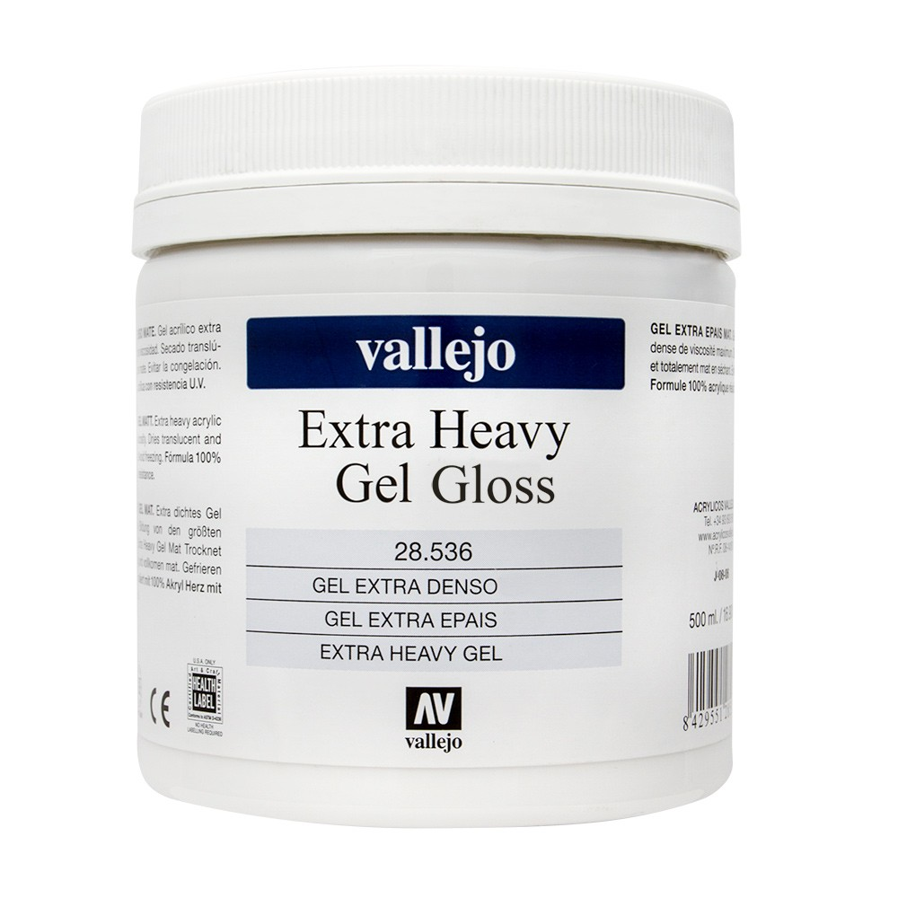 Vallejo : Acrylic Extra Heavy Gel Gloss Medium : 500ml