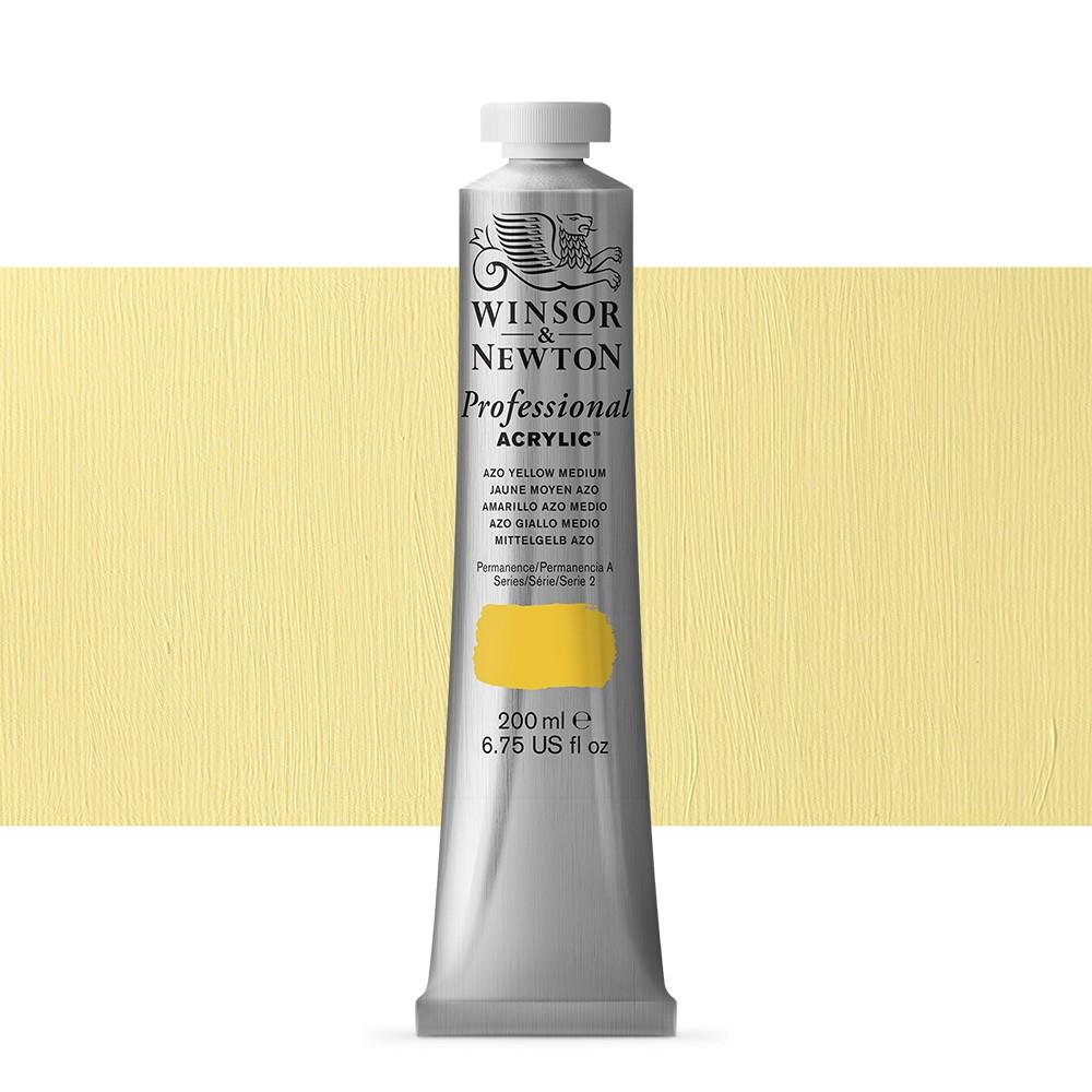 Winsor & Newton : Professional Acrylic Paint : 200ml : Azo Yellow Medium