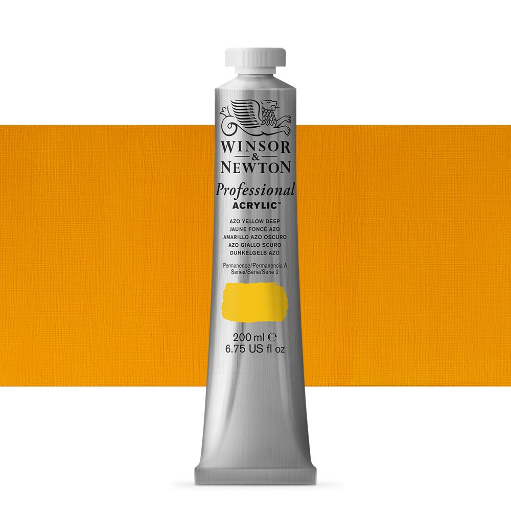 Winsor & Newton : Professional Acrylic Paint : 200ml : Azo Yellow Deep