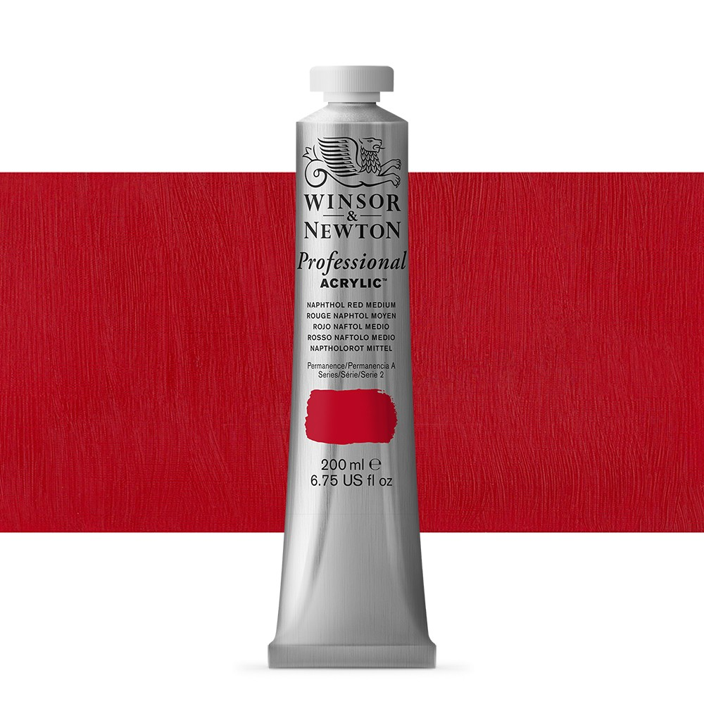 Winsor & Newton : Professional Acrylic Paint : 200ml : Naphthol Red Medium