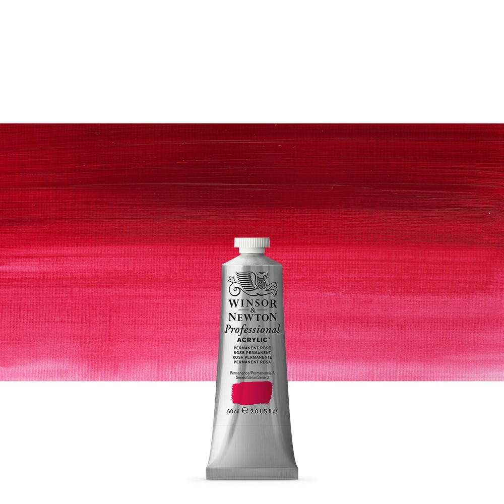 Winsor & Newton : Professional Acrylic Paint : 60ml : Permanent Rose Quinacridone