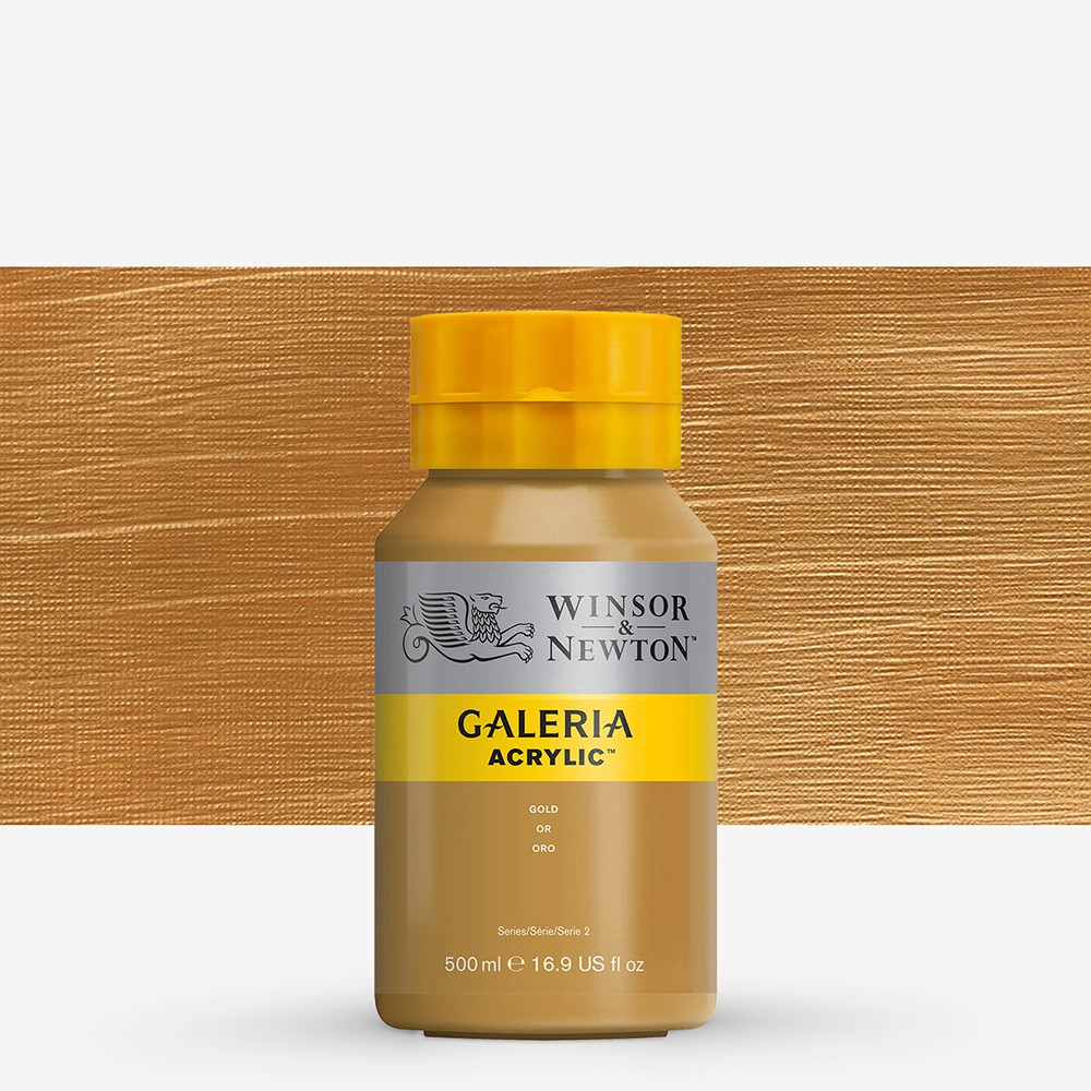 W&N : Galeria : Acrylic Paint : 500ml : Metallic Gold