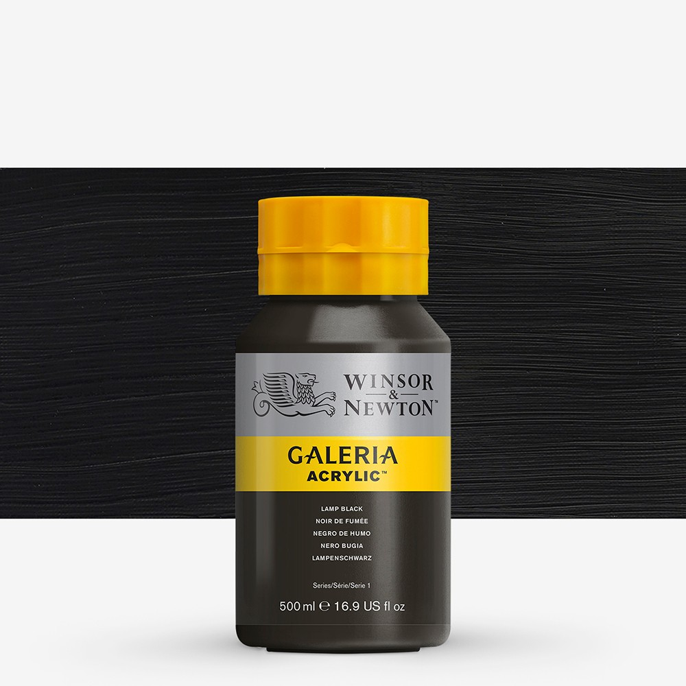 W&N : Galeria : Acrylic Paint : 500ml : Lamp Black