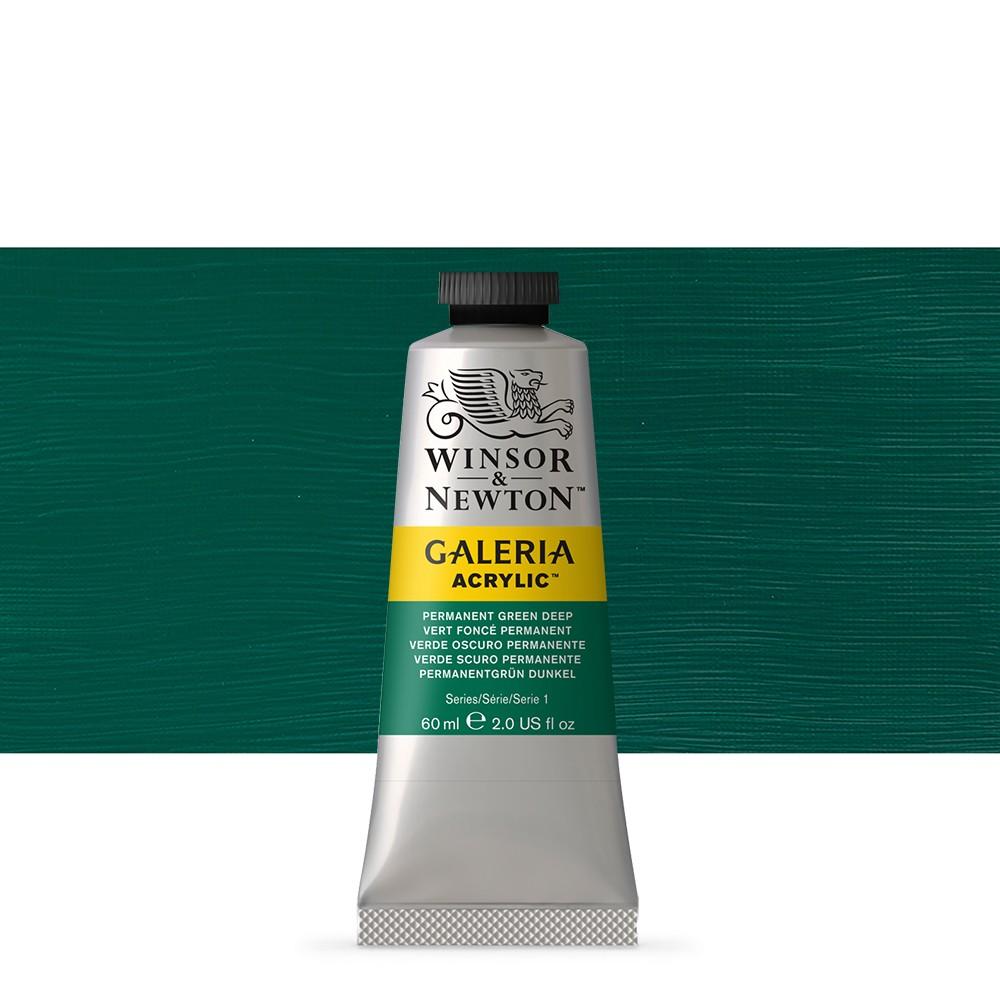 W&N : Galeria : Acrylic Paint : 60ml : Permanent Green Deep
