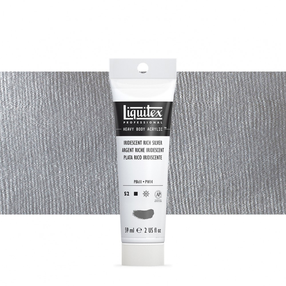 Liquitex : Professional : Heavy Body Acrylic Paint : 59ml : Iridescent Rich Silver