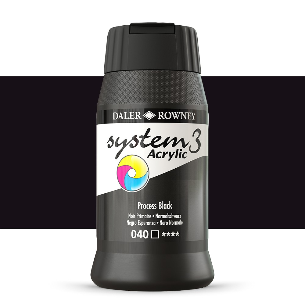 Daler Rowney : System 3 Acrylic Paint : 500ml : Process Black