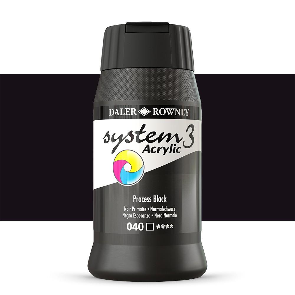Daler Rowney : System 3 Acrylic Paint : 500ml : Process Black