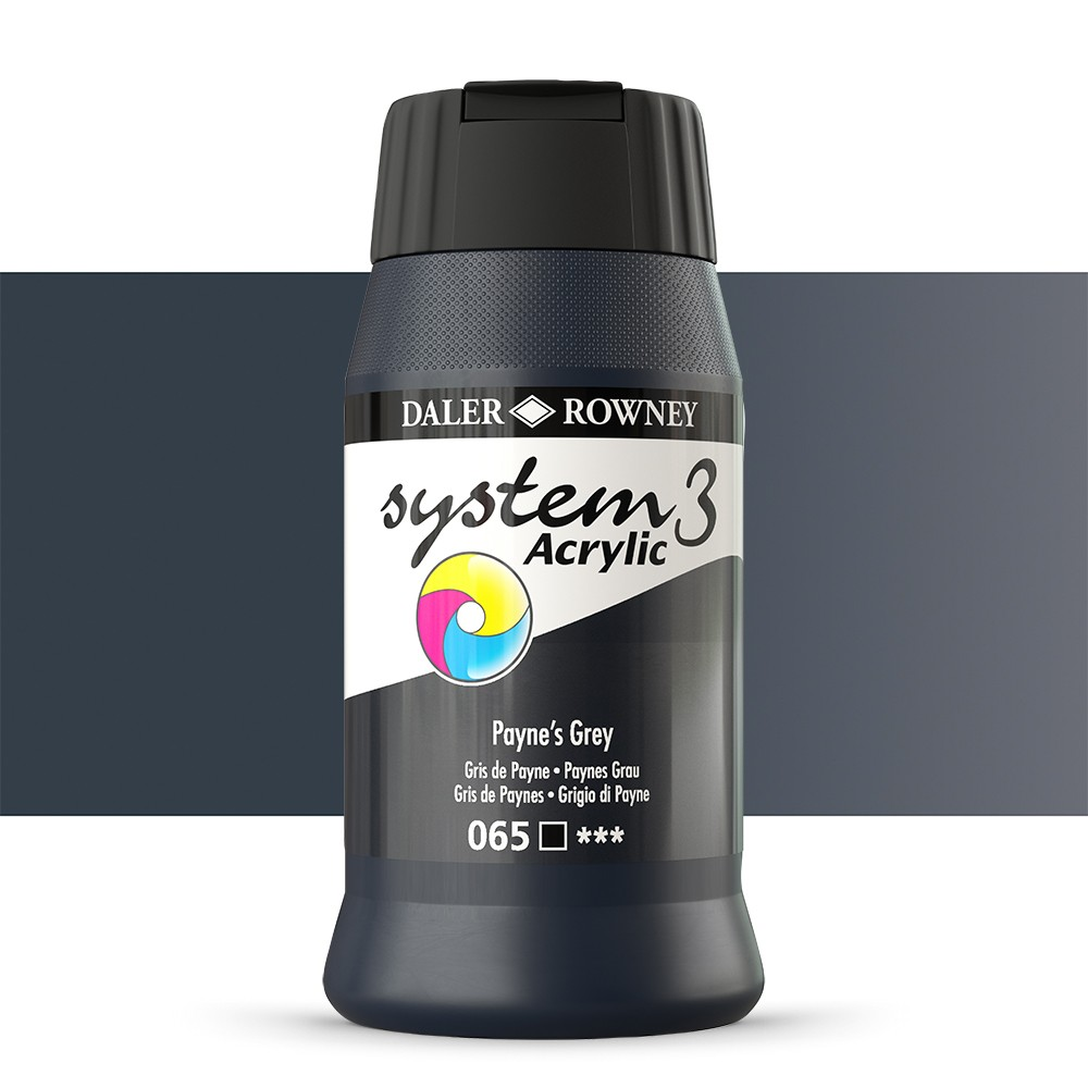 Daler Rowney : System 3 Acrylic Paint : 500ml : Paynes Grey